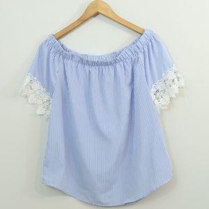 Kontrol Striped On Off Shoulder Crochet Lace Top